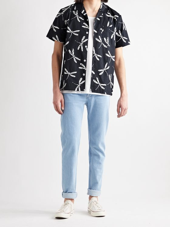 A.P.C. Edd Camp-Collar Printed Cotton-Poplin Shirt