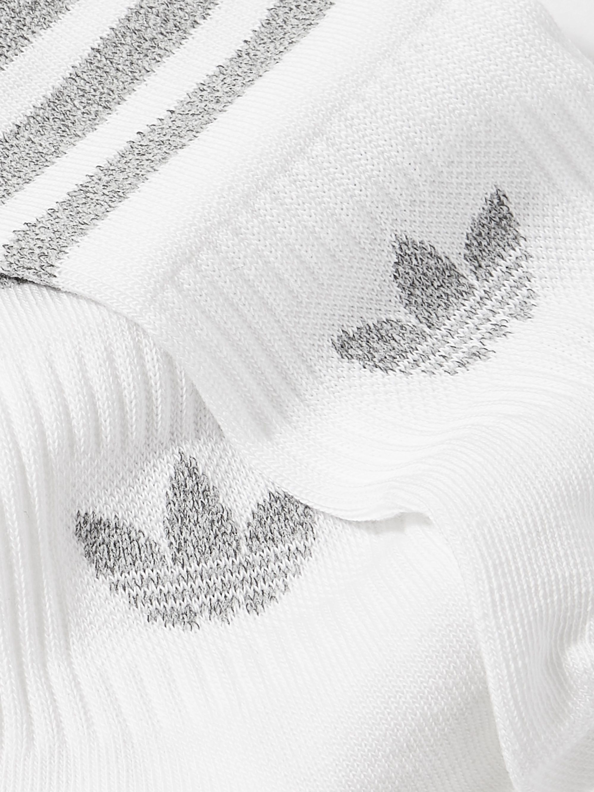ADIDAS ORIGINALS Two-Pack Reflective Logo-Intarsia Cotton-Blend Crew Socks