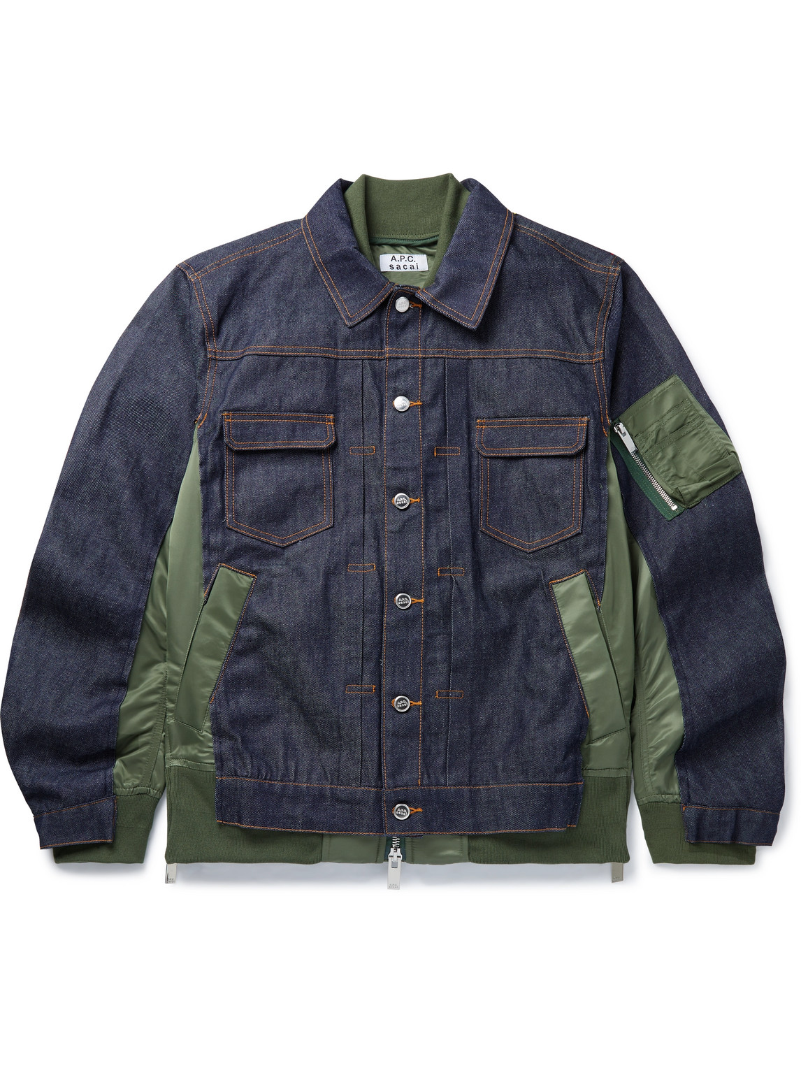 A.p.c. Sacai Oversized Nylon-panelled Denim Jacket In Green