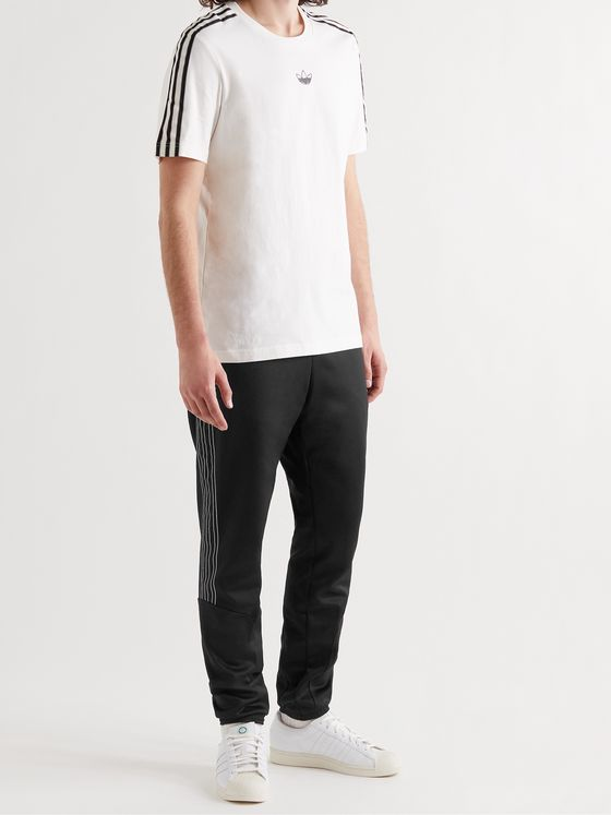 ADIDAS ORIGINALS SPRT Slim-Fit Tapered Logo-Embroidered Striped Recycled Jersey Sweatpants