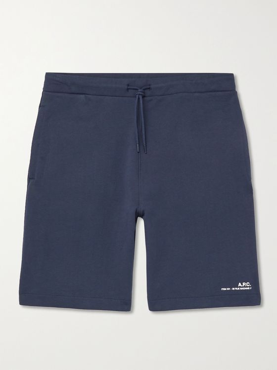 A.P.C. Logo-Print Fleece-Back Cotton-Jersey Drawstring Shorts