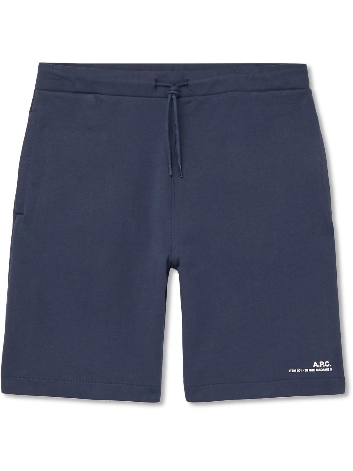A.P.C. - Logo-Print Fleece-Back Cotton-Jersey Drawstring Shorts - Men - Blue - M