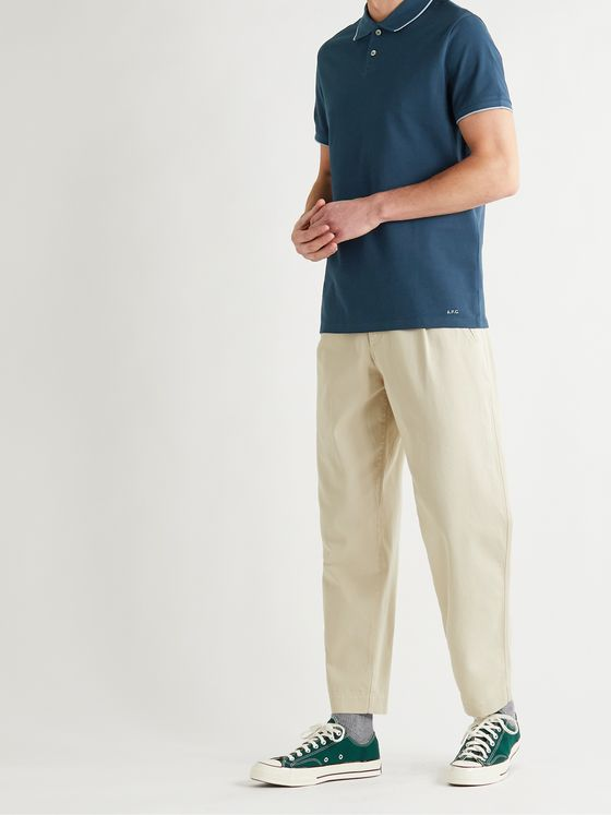 A.P.C. Max Slim-Fit Contrast-Tipped Cotton-Piqué Polo Shirt