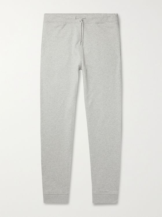 A.P.C. Molleton Tapered Mélange Fleece-Back Cotton-Jersey Sweatpants