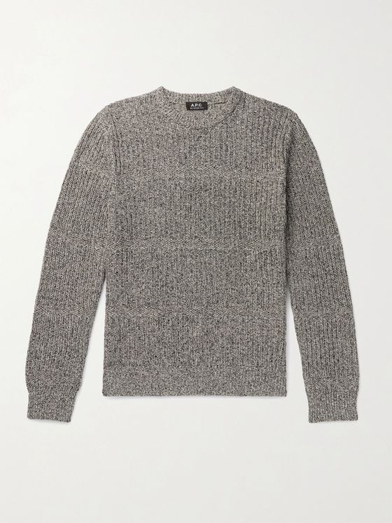 A.P.C. Steve Ribbed Mélange Cotton and Linen-Blend Sweater