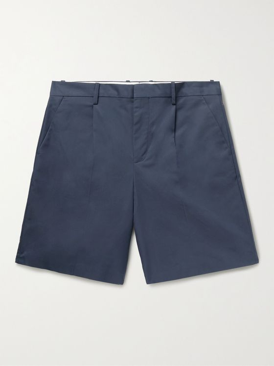 A.P.C. Terry Pleated Cotton-Blend Gabardine Shorts