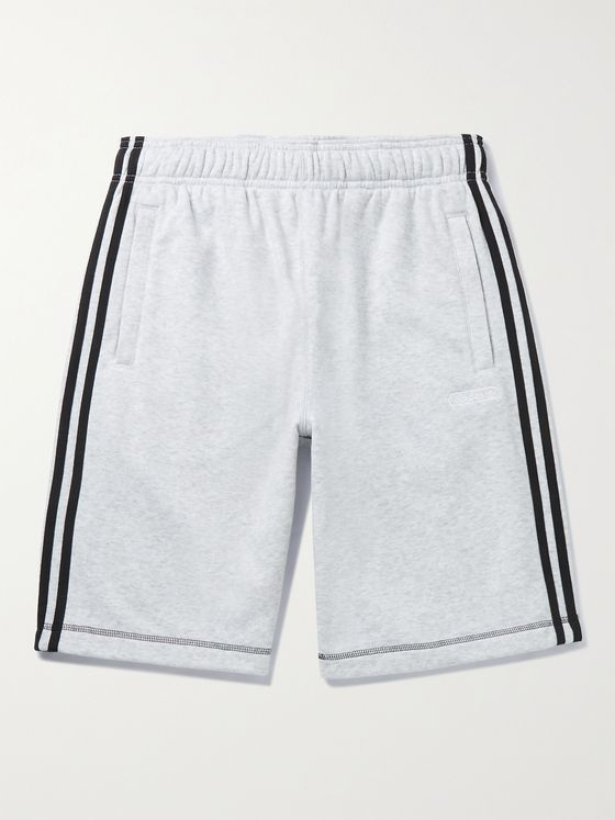 ADIDAS ORIGINALS Striped Mélange Cotton-Blend Shorts