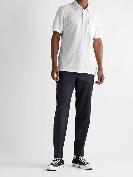 JAMES PERSE Cotton and Linen-Blend Jersey Polo Shirt