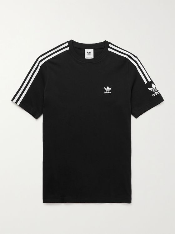 ADIDAS ORIGINALS Logo-Print Striped Cotton-Jersey T-Shirt