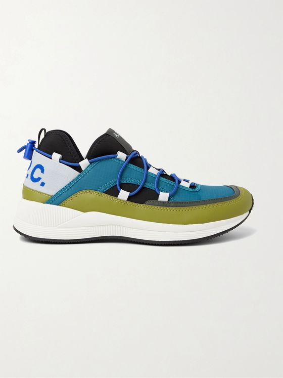 A.P.C. Little Joe Logo-Detailed Ripstop, Leather and Neoprene Sneakers