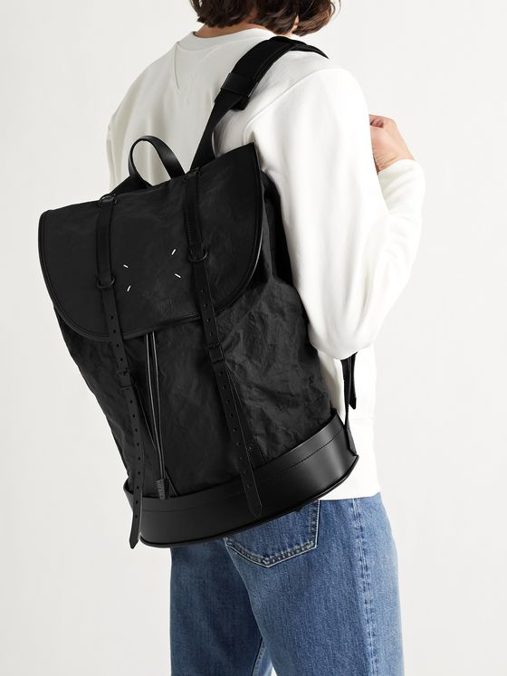 MAISON MARGIELA Leather-Trimmed Crinkled-Shell Backpack