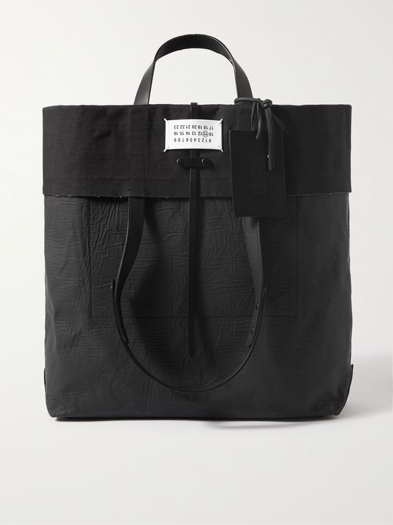MAISON MARGIELA Leather-Trimmed Coated-Canvas Tote Bag