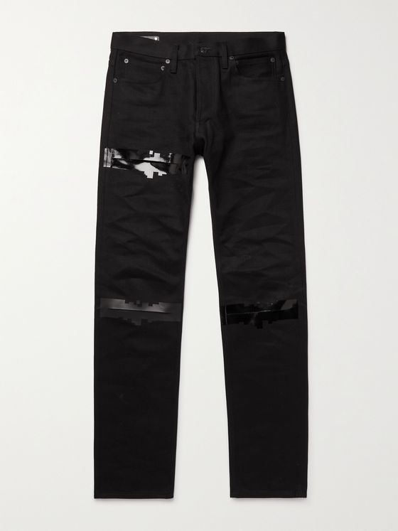 TAKAHIROMIYASHITA TheSoloist. Distressed Gloss-Trimmed Denim Jeans