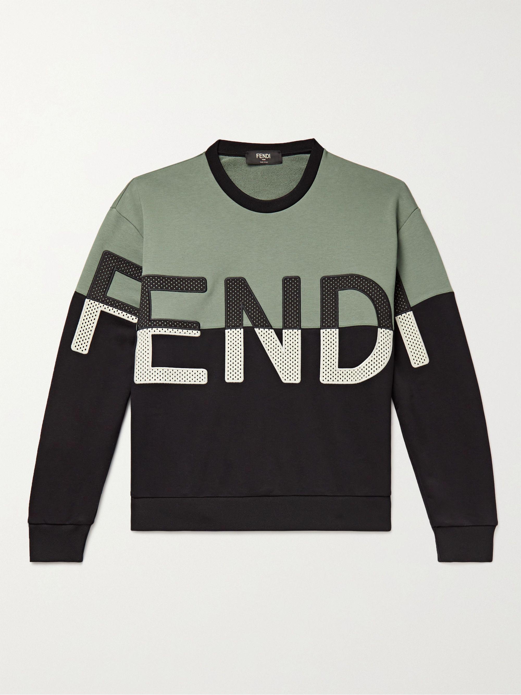 FENDI Logo-Appliqued Loopback Cotton-Blend Jersey Sweatshirt