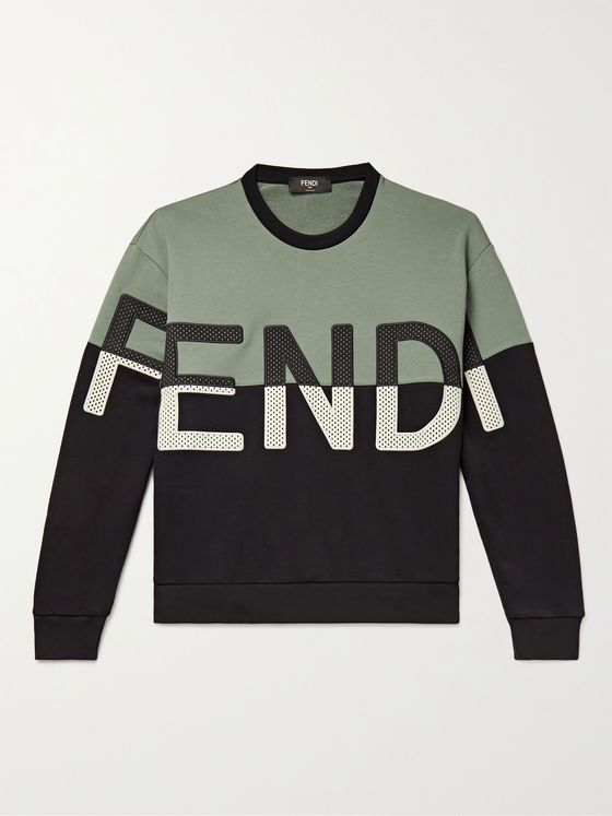 FENDI Logo-Appliquéd Loopback Cotton-Blend Jersey Sweatshirt