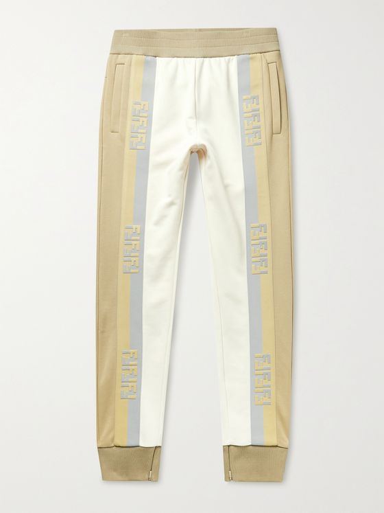 FENDI Tapered Logo-Jacquard Loopback Jersey Sweatpants