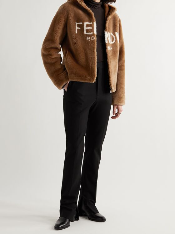 FENDI Logo-Print Shearling Hooded Jacket