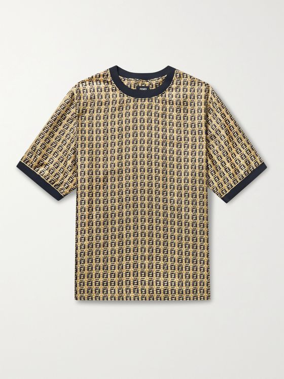 FENDI Logo-Print Silk-Twill T-Shirt