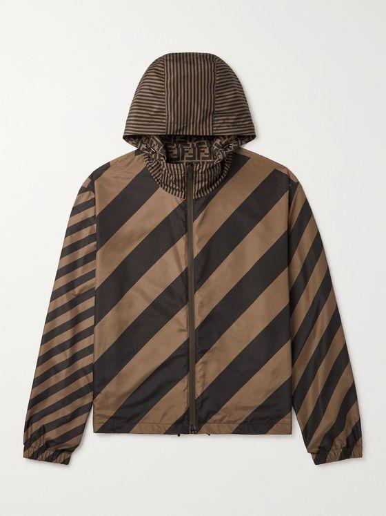 FENDI Reversible Logo-Print Striped Shell Hooded Jacket