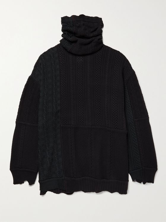 TAKAHIROMIYASHITA TheSoloist. Oversized Patchwork Distressed Cable-Knit Rollneck Sweater