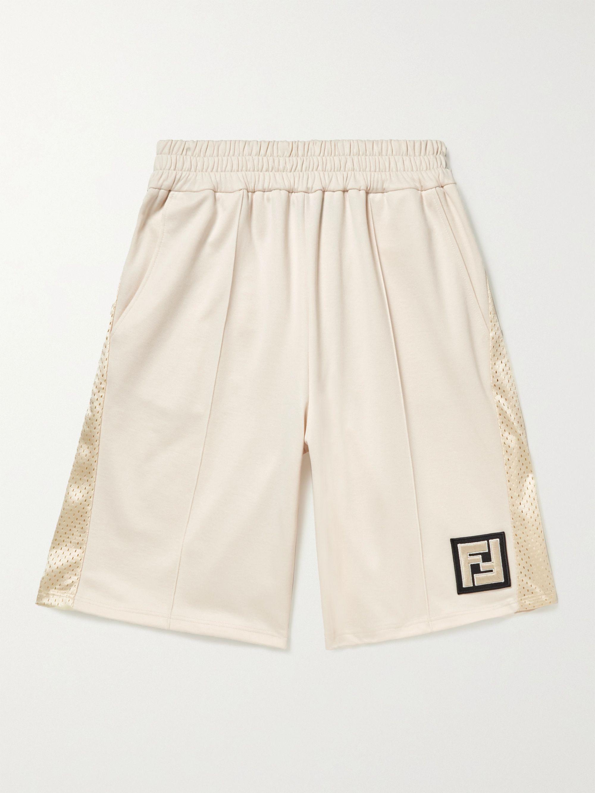 FENDI Wide-Leg Logo-Appliqued Mesh-Panelled Tech-Jersey Shorts