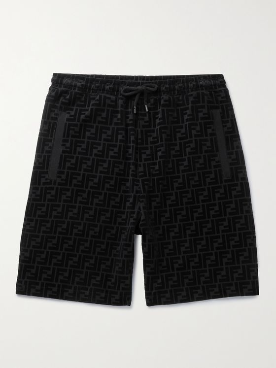 FENDI Flocked Cotton-Jersey Drawstring Shorts