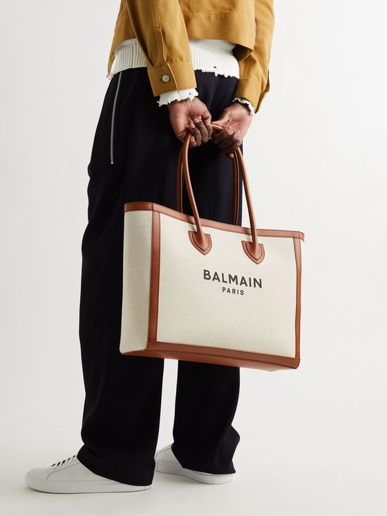 BALMAIN B-Army Leather-Trimmed Logo-Print Canvas Tote Bag