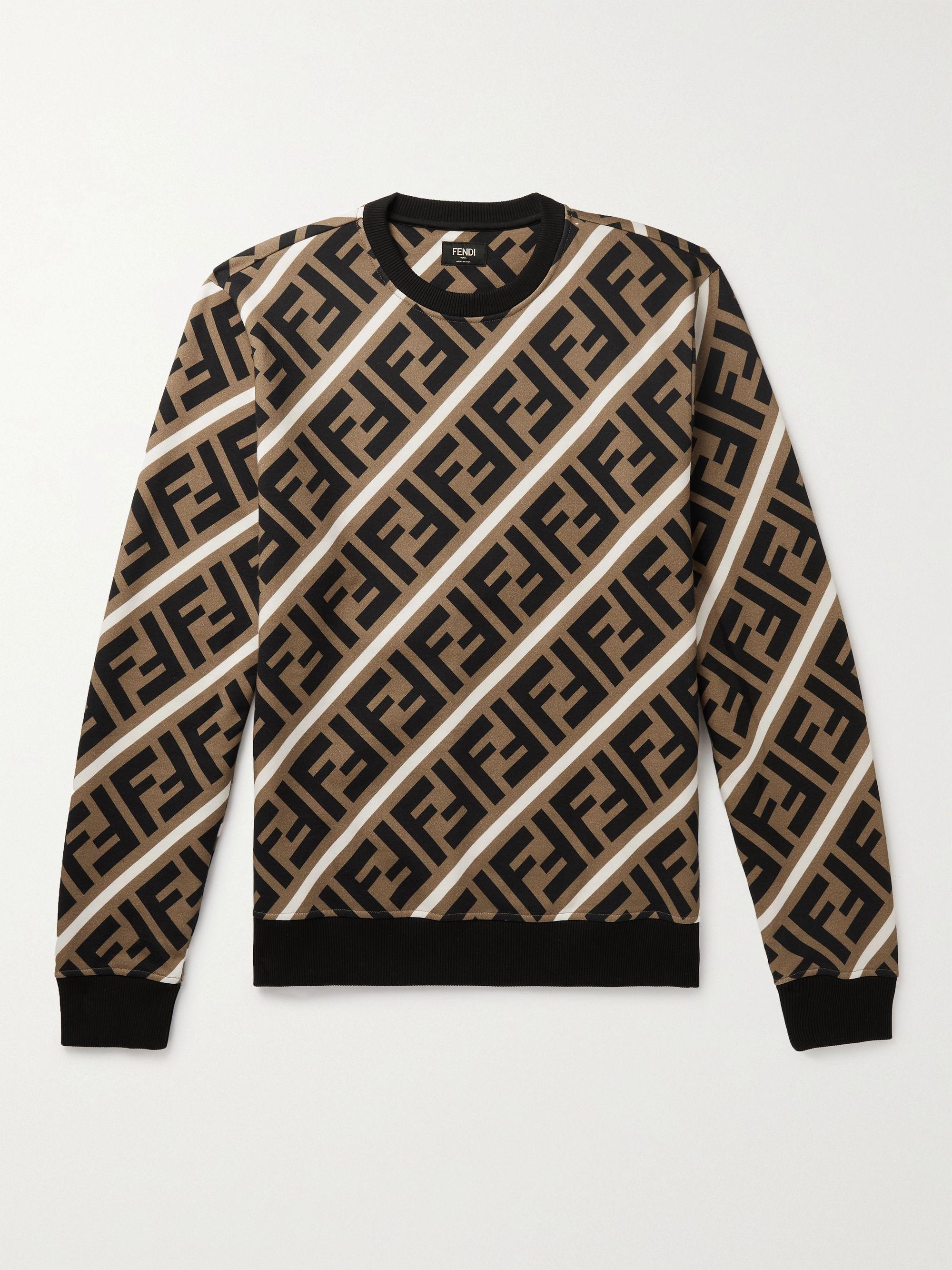 FENDI Logo-Print Fleece-Back Cotton-Jersey Sweatshirt