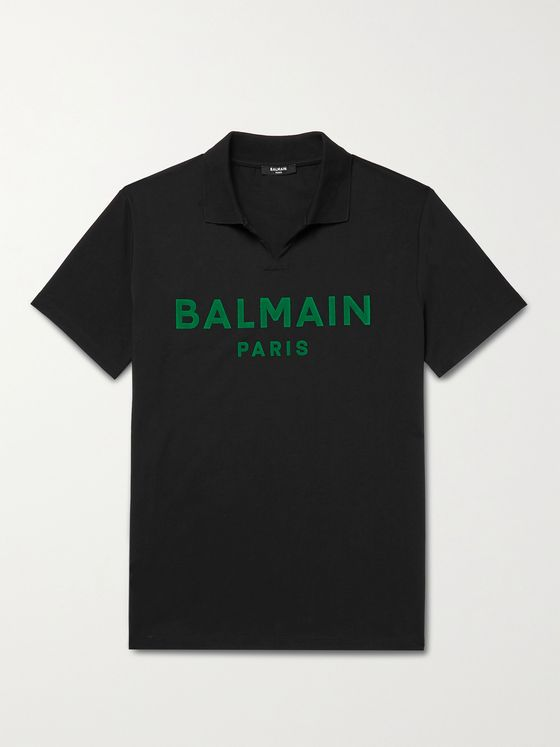 BALMAIN Logo-Flocked Cotton-Jersey Polo Shirt