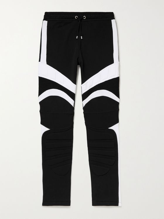 BALMAIN Logo-Embossed Panelled Cotton-Jersey Sweatpants