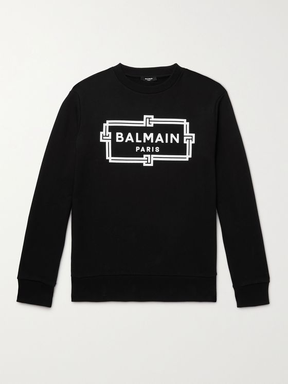 BALMAIN Slim-Fit Logo-Print Loopback Cotton-Jersey Sweatshirt