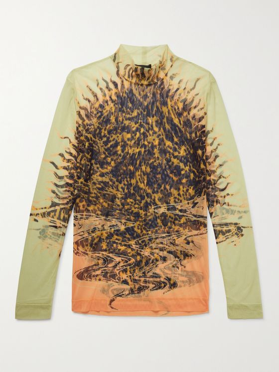 GIVENCHY Printed Mesh Rollneck Top