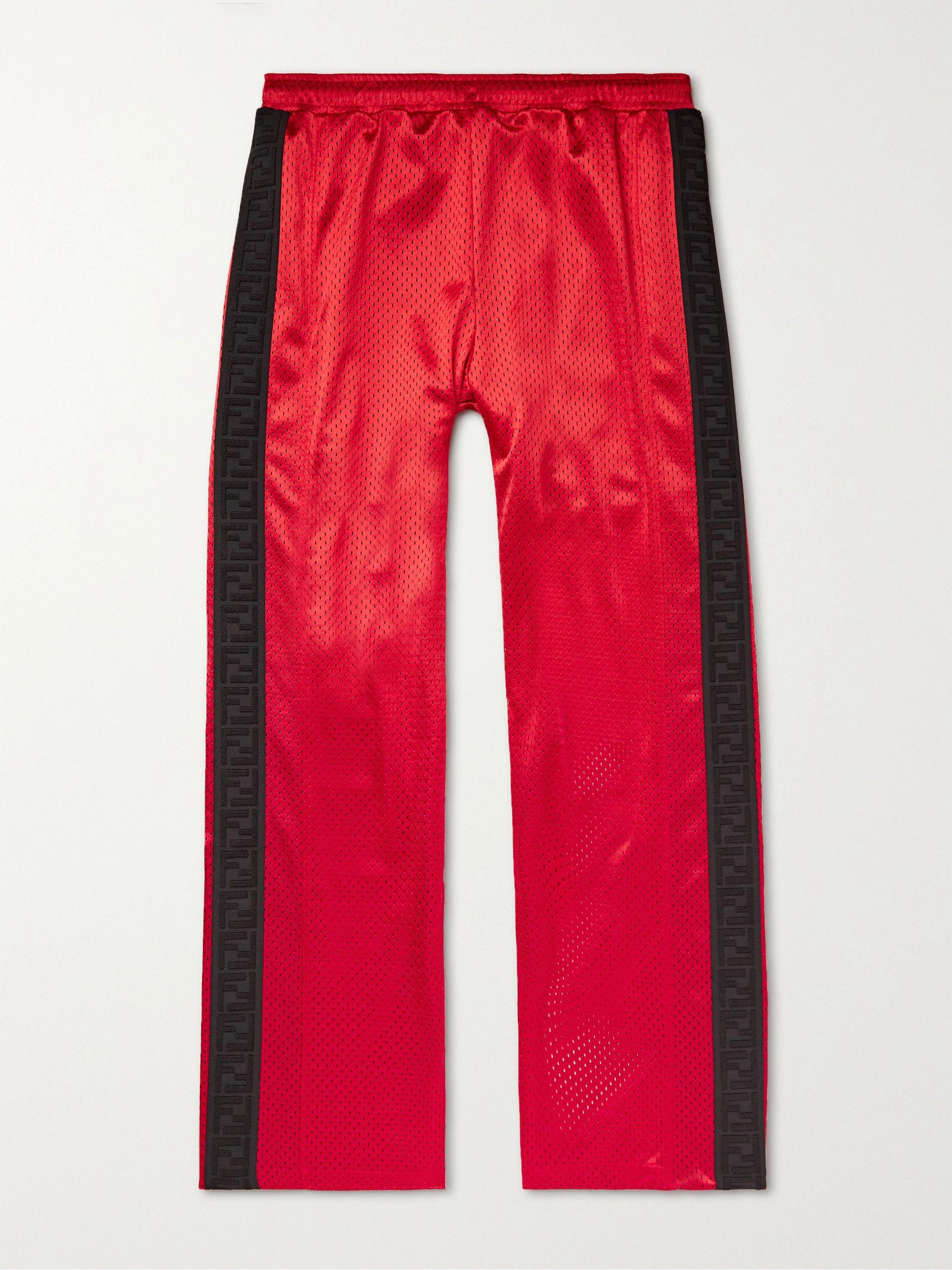 FENDI Logo-Trimmed Cotton-Mesh Track Pants