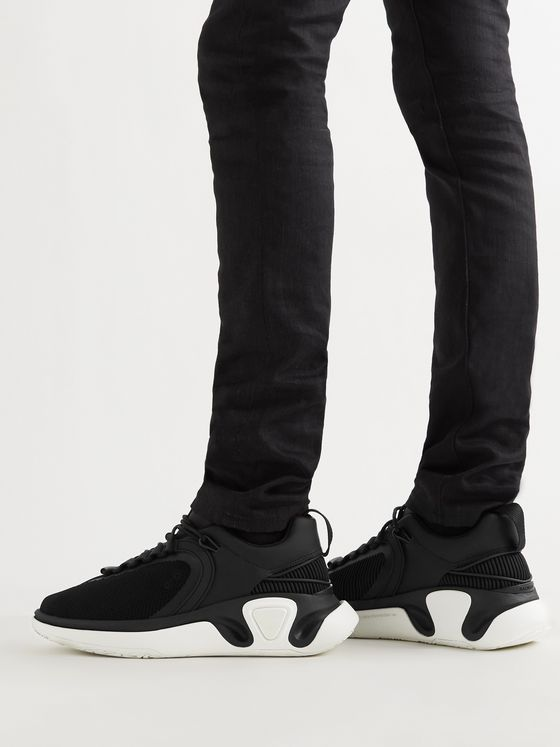 BALMAIN B-Runner Leather-Trimmed Mesh and Rubber Sneakers