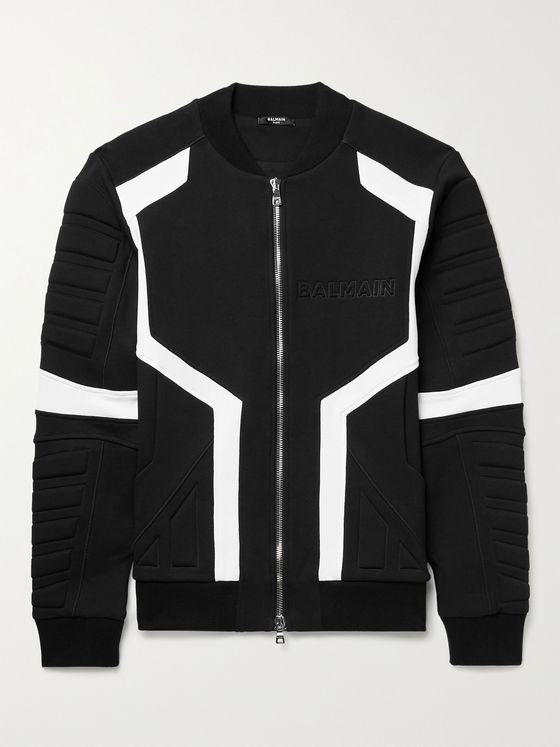 BALMAIN Embossed Cotton-Jersey Bomber Jacket