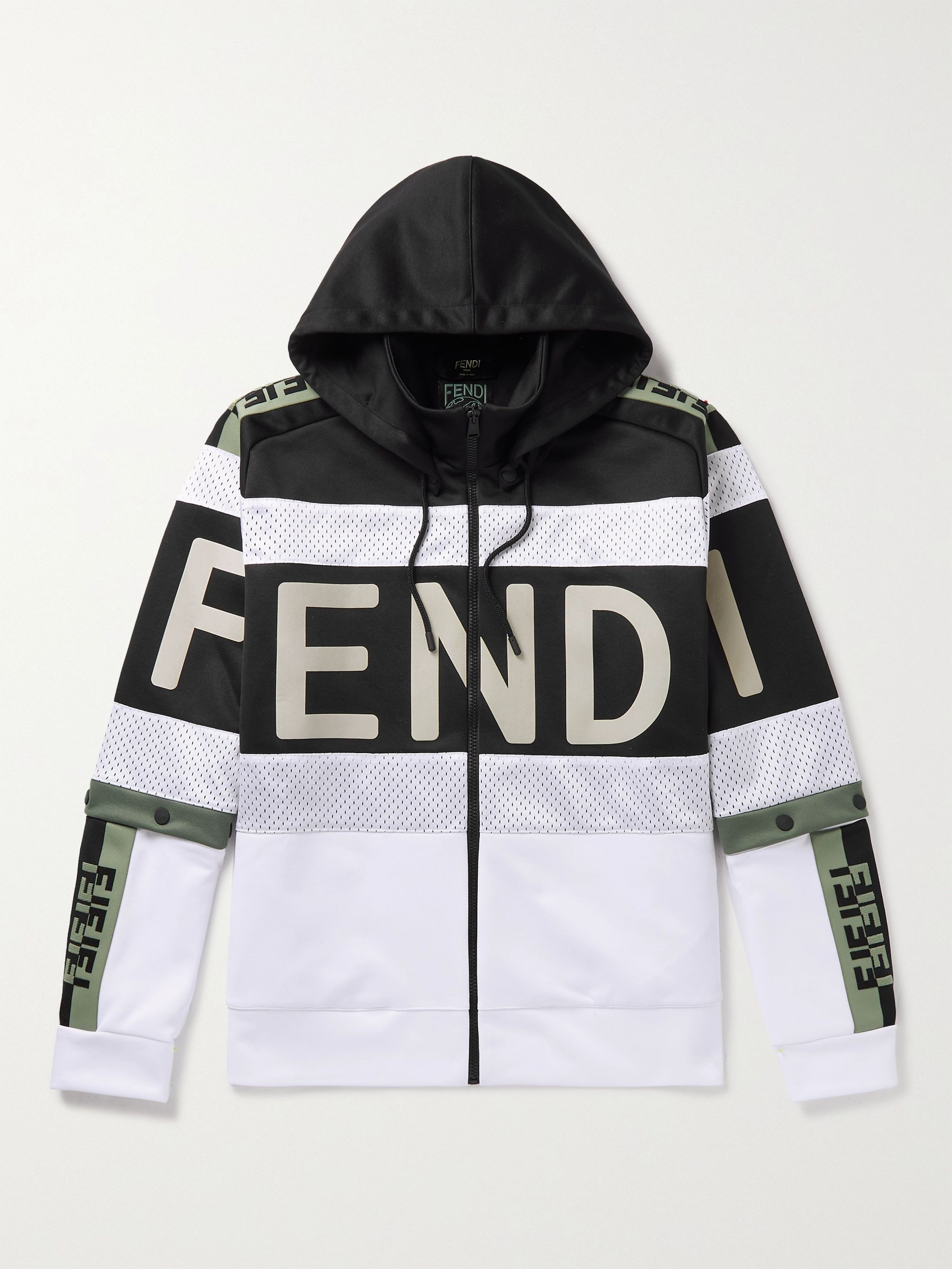 FENDI Logo-Detailed Panelled Jersey and Mesh Hoodie