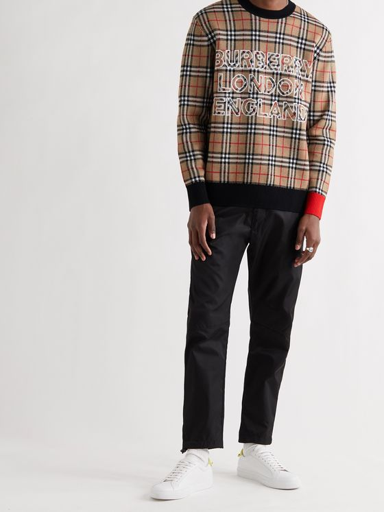 BURBERRY Checked Intarsia Wool and Cotton-Blend Sweater