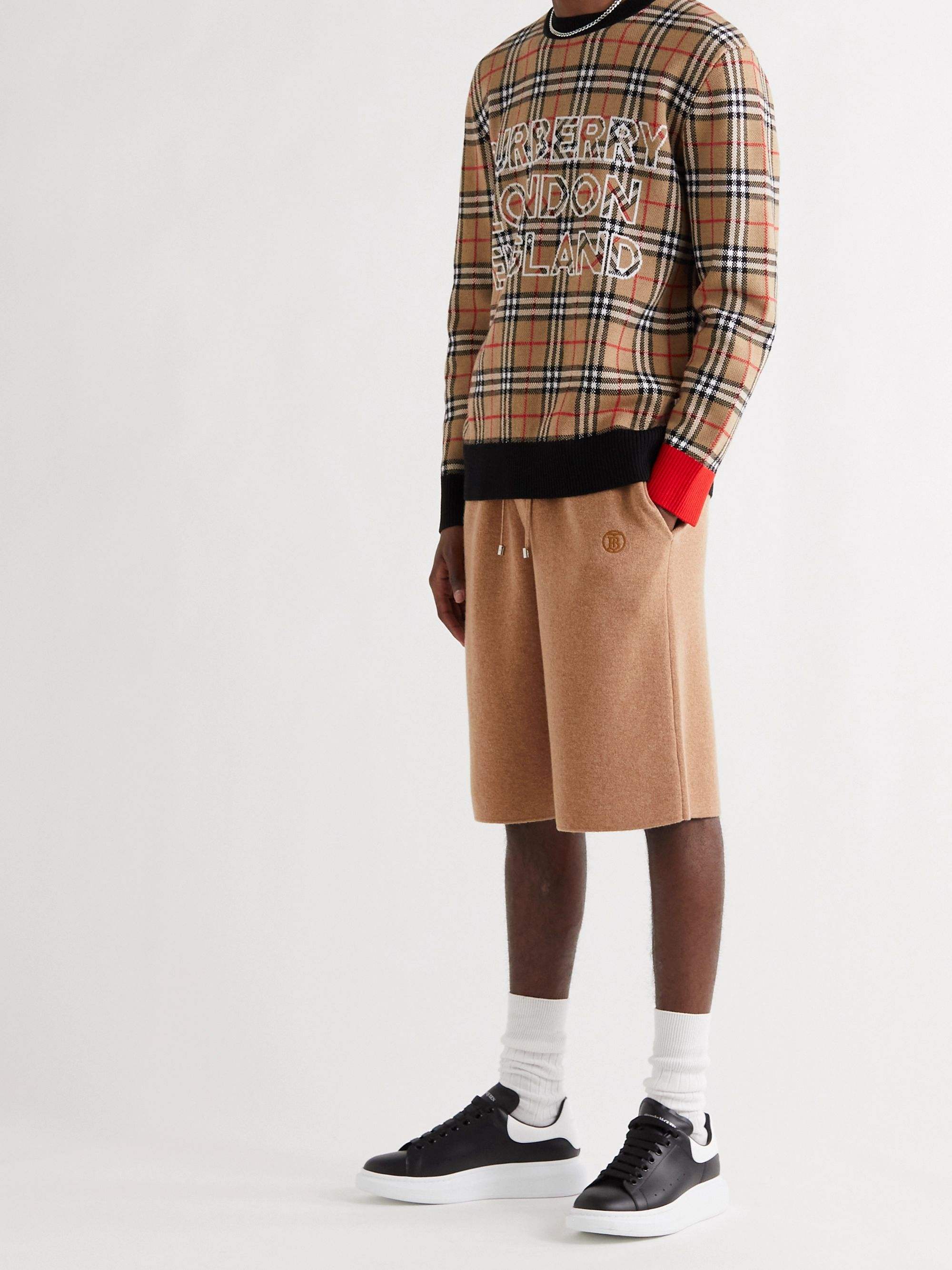 BURBERRY Wide-Leg Logo-Embroidered Cashmere Drawstring Shorts