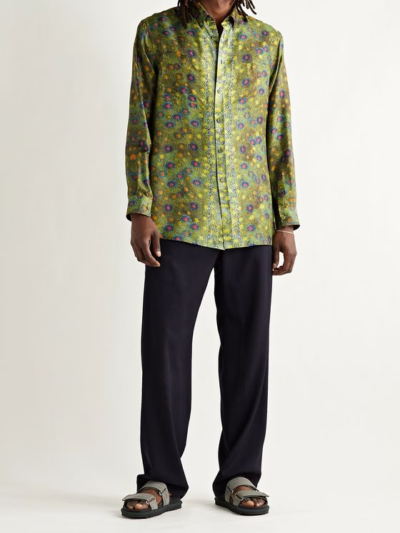BURBERRY Button-Down Collar Printed Silk-Twill Shirt
