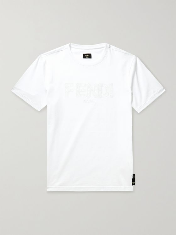 FENDI Logo-Embroidered Cotton-Jersey T-Shirt