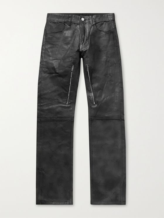 GIVENCHY Zip-Detailed Painted Crackled Denim Jeans