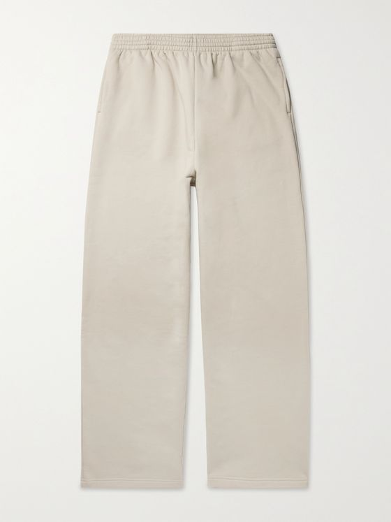 BALENCIAGA Wide-Leg Fleece-Back Organic Cotton-Jersey Sweatpants