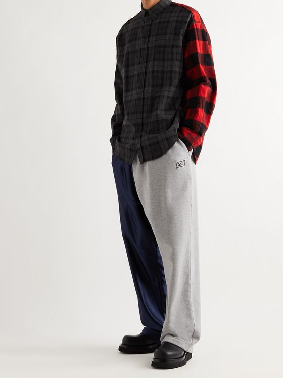 BALENCIAGA Wide-Leg Cotton-Jersey and Recycled Shell Sweatpants