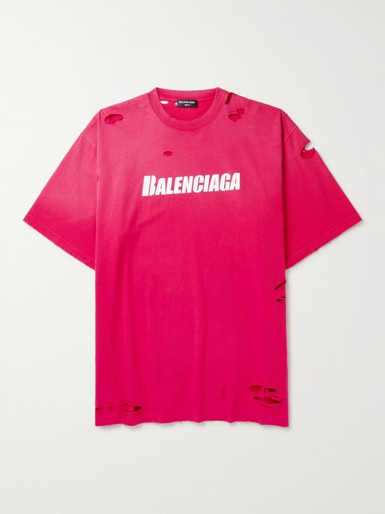 BALENCIAGA Oversized Distressed Logo-Print Cotton-Jersey T-Shirt
