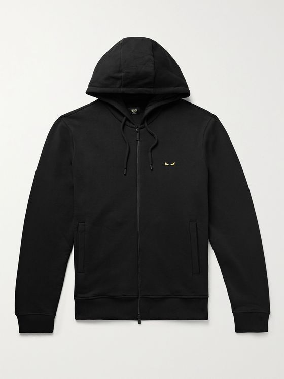 FENDI Logo-Embroidered Fleece-Back Cotton-Jersey Zip-Up Hoodie