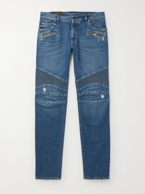 BALMAIN Slim-Fit Tapered Ribbed Denim Jeans
