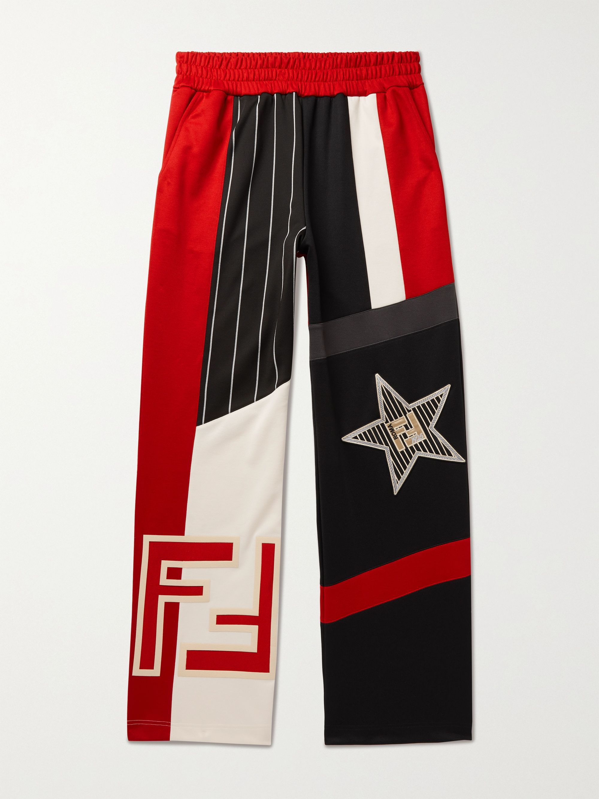 FENDI Logo-Appliqued Panelled Jersey Sweatpants