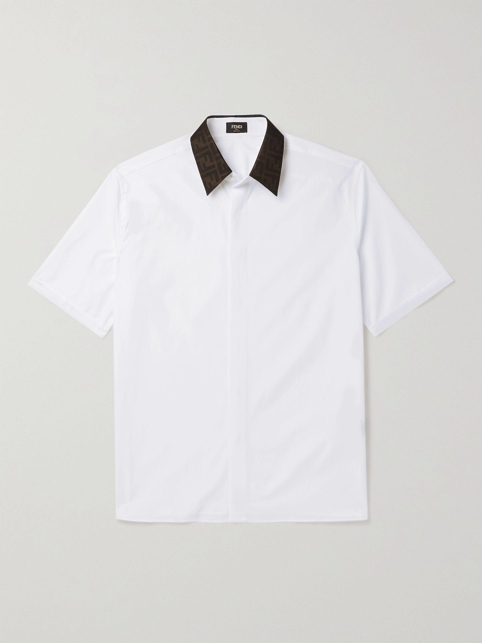 펜디 Fendi Logo-Print Silk Satin-Trimmed Cotton Shirt,White