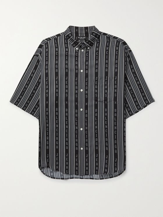 BALENCIAGA Button-Down Collar Logo-Print Twill Shirt