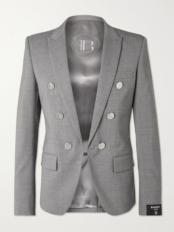 BALMAIN Button-Embellished Wool-Blend Blazer